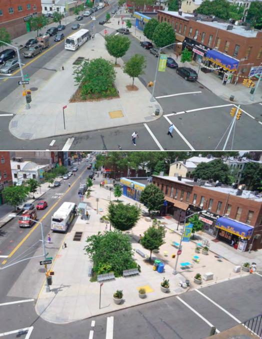 Putnam Plaza - Luftaufnahme. Vor und nach der Strassenschliessung