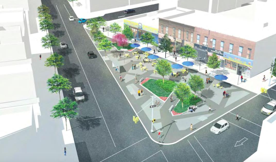 Putnam Plaza. Luftaufnahme-Skizze des neuen Platzes